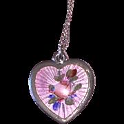 SALE PENDING Valentine Heart Charm Enamel Rose Sterling