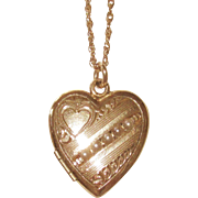 SALE Vintage Gold Filled Heart Shaped Locket Cultured Seed Pearls