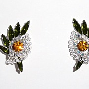 Vintage Hobe Green Golden Rhinestone Earrings