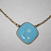 REDUCED Vintage Glass Intaglio Necklace