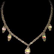 SALE Vintage Rainbow Iris Crystal Necklace