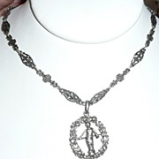 SALE Vintage Italy 800 Silver Ornate Necklace and Pendant