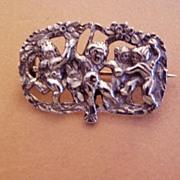 Vintage Italian Silver Cherubs Brooch