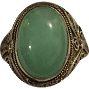 REDUCED Vintage Chinese Silver Export Filigree Jade Ring