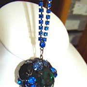 REDUCED Large Teal Blue and Green Ball Necklace