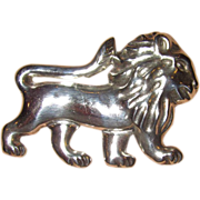 REDUCED Large Lion Silver Made in Mexico Early Piece