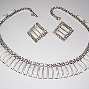 Kramer N.Y. White Glass Choker And Earrings