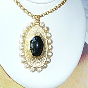 REDUCED Vintage 1980's Large Pendant Necklace and Earrings Faux Pearls
