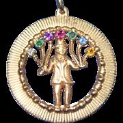 REDUCED Vintage 14K Gold Large Pendant Charm Gemstones