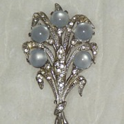 SALE Large Moonglow Flower Bouquet Pin Brooch