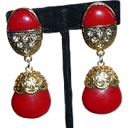 SALE Large Red Vintage Clip Earrings