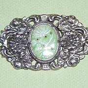 SALE Large Vintage Silver Brooch Faux Jade Stone