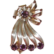 Large Sterling 1940s Brooch Purple