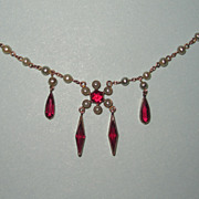 REDUCED Victorian Lavalier Pearls Red Dangles Fit For A Bride