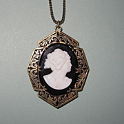 REDUCED Large Victorian Revival Cameo Locket
