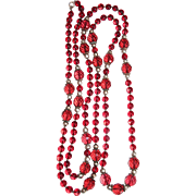 Vintage Glass Beads 60 Inches Long Red 1930s