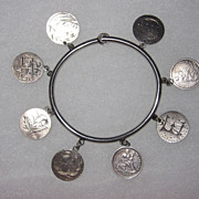 REDUCED Victorian Love Token Bangle Bracelet  8 Tokens Pictorials