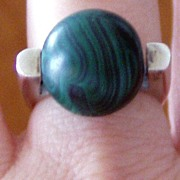 REDUCED Modern Silver Malachite Ring Large Ball