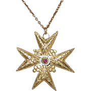 REDUCED Georgian Maltese Cross Cannetille Pendant