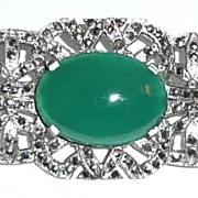 SALE Marcasite Chrysoprase Sterling Brooch