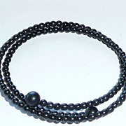 REDUCED Victorian Matte Jet Bead Bracelet