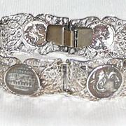 REDUCED Filigree Silver Medallion Bracelet
