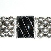 REDUCED Early Mexico Silver Wide Onyx Bracelet