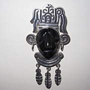 REDUCED Vintage Mexican Carved Face Pin