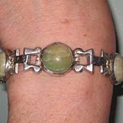 REDUCED Vintage Mexico Silver Bracelet Cabochon Green Stones