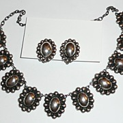 SALE Early Mexico Silver Necklace and Earrings