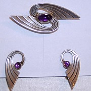 REDUCED Vintage Modern Silver Sterling Amethyst Pin and Earrings