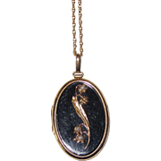 SALE PENDING Victorian Mourning Locket Lily of the Valley Cultured Seed Pearls