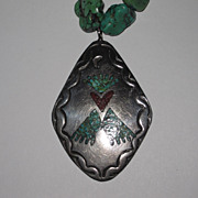 SALE Vintage Native American Turquoise Silver Pendant