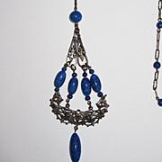 SALE Sale 1920s Sautoir Necklace Blue Glass