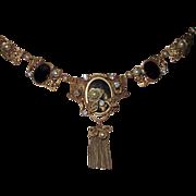 REDUCED Ornate Vintage Brass Necklace Black Gold