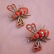 Bees Vintage Twin Pins Enamel Painted Bees