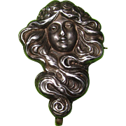 SALE Art Nouveau Watch Pin Lady With Flowing Hair