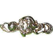 REDUCED Art Nouveau Brooch Sterling Top Lady