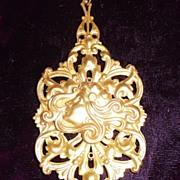 REDUCED Vintage Gilt Brass Large Pendant