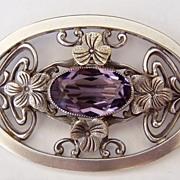 SALE Large Art Nouveau Design Brooch Purple Crystal Flowers