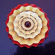 Vintage Enamel Orange Yellow Brooch Flower