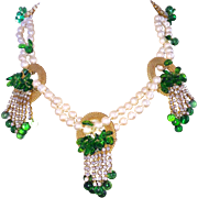 SALE Handmade Parure Faux Pearls Green Glass Leaves Necklace Bracelet Earrings