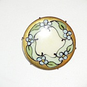 Vintage Painted Porcelain Brooch