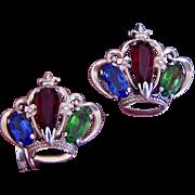 REDUCED Pair Vintage Sterling Crown Pins Brooches