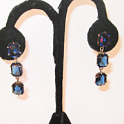 Vintage Dark Blue Paste Earrings