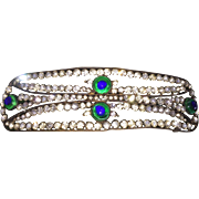 Art Nouveau Diadem or Hair Ornament Peacock Eye Glass
