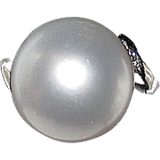 REDUCED Sale Estate South Sea White Pearl 12mm Round Platinum Ring