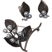 SALE Ming's of Honolulu Sterling Brooch and Earrings Silver Pearls