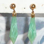 Art Deco Peking Glass Drop Earrings Gold Fill