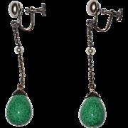 Long Deco Peking Glass Drop Earrings